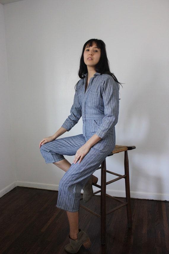 Vintage Slim Pinstripe Cotton Jumpsuit