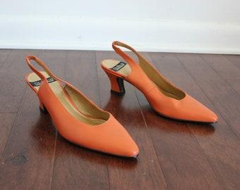 80s Orange Slingback Heels 7.5