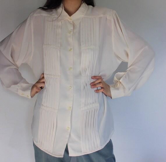 Vintage Ivory Pleated Blouse Long Sleeve L