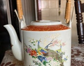 Vintage Japanese Satsuma Tea Pot Flowers and Peacocks Excellent Condition
