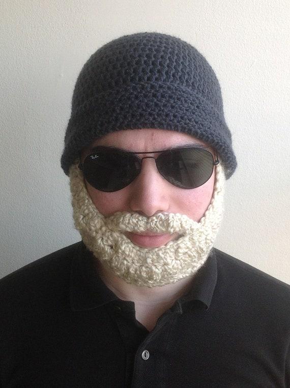 Handarbeit häkeln Bart Hut in dunklen grau-Mütze mit blonden | Etsy