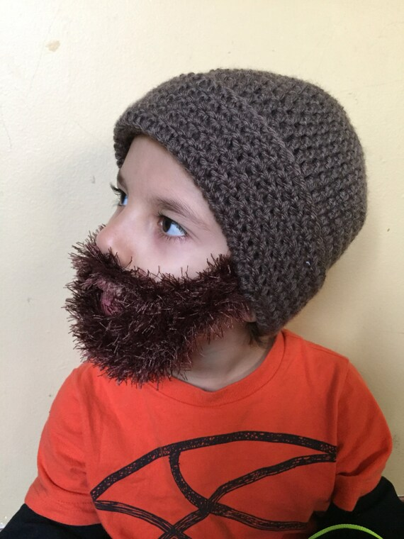 Handmade Crochet Beard hat beard beanie. Taupe hat with dark  67526c7fd2f