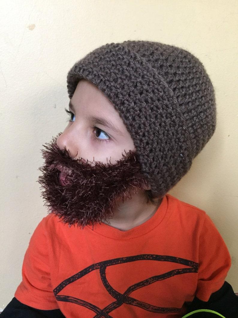 db08005e1a9 Handmade Crochet Beard hat beard beanie. Taupe hat with dark