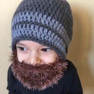 coca baby beard hat, Mixed white and navy blue hat with light brown beard hat beard beanie Handmade Crochet Beard hat taupe beard