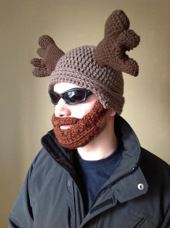 Handarbeit häkeln Elch Bart Hut in leichte braune Mütze Hut | Etsy