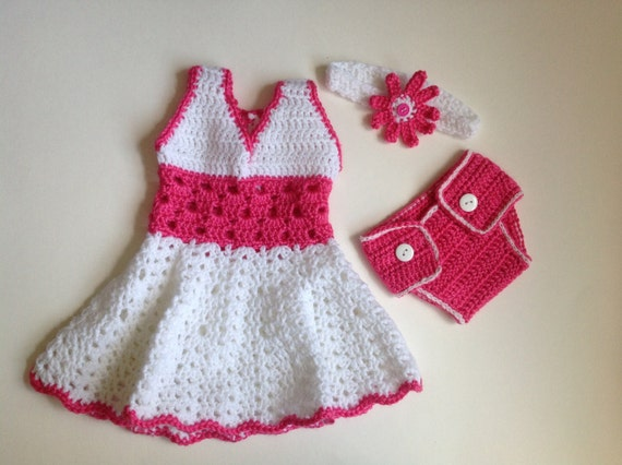 Crochet Baby Girl Dress With Headband And Diaper Cover Pdf Etsy