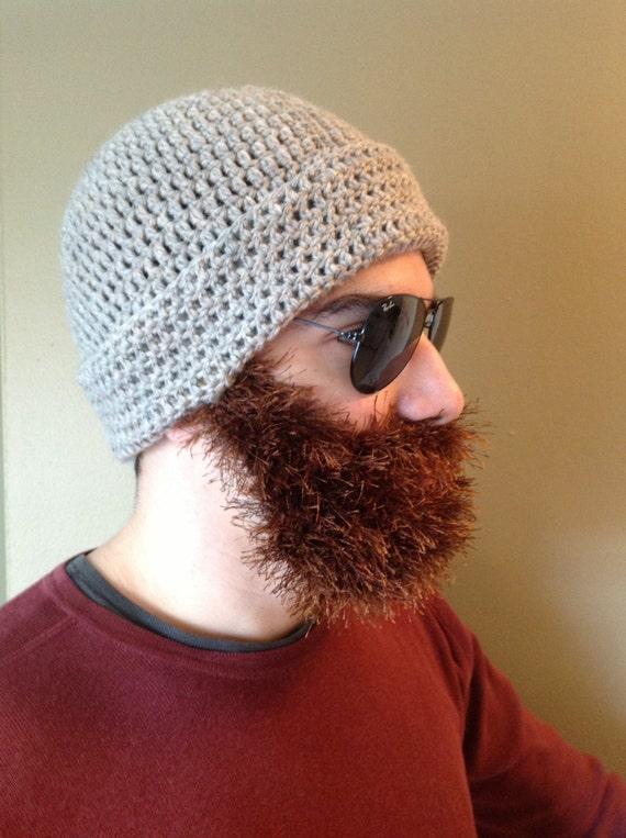 Handarbeit häkeln Bart Hut Bart Mütze dunkle cremige Hut mit | Etsy