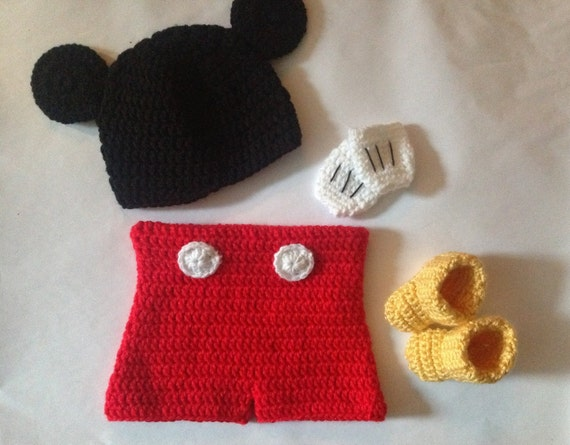 Crochet Mickey Mouse Outfit Set In Pdf Pattern Mickey Mouse Etsy