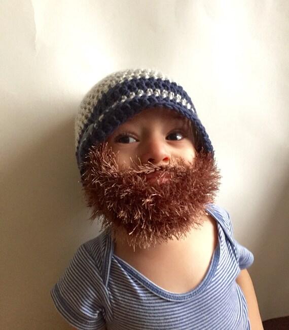 Handarbeit häkeln Bart Mütze Bart Beanie. Weiß und Marineblau | Etsy