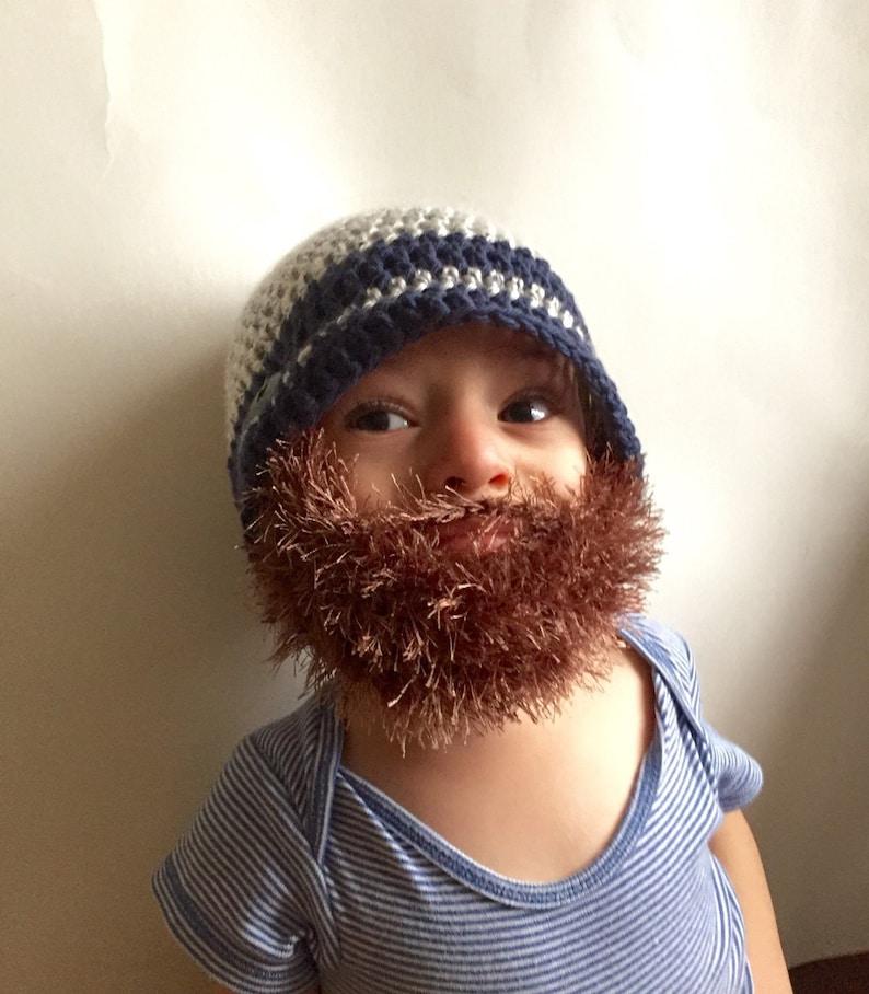 Handmade Crochet Beard hat beard beanie. Mixed white and navy  eebde595474