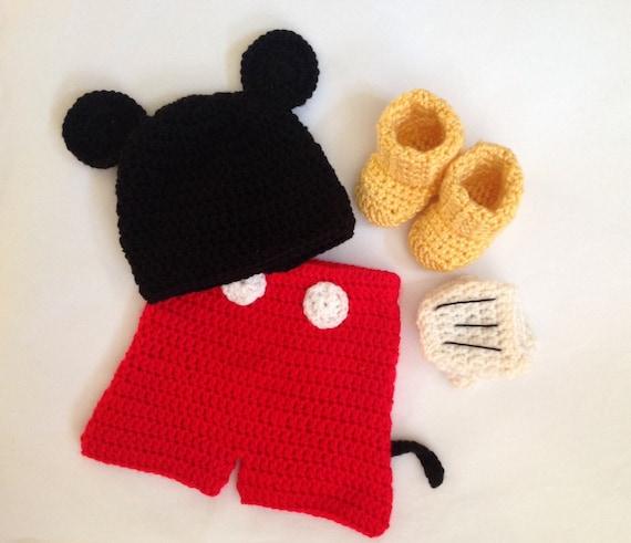Handarbeit häkeln Mickey Mouse inspiriert Outfit Set Hut | Etsy