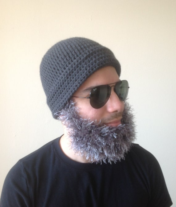 Handmade Crochet Beard hat beard beanie dark gray hat with  1b810d34cb6
