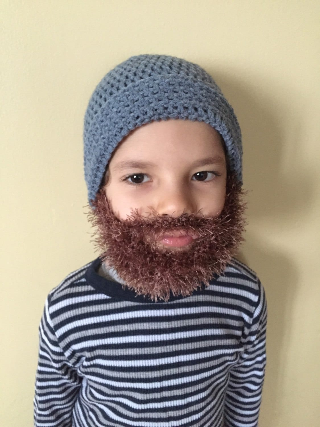Handmade Crochet Beard hat beard beanie. Medium blue hat with  6351614f535