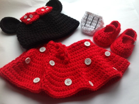 Handarbeit häkeln Minni Maus Outfit set Hut Rock Handschuhe | Etsy