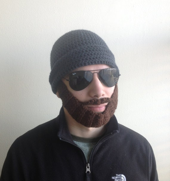 Handarbeit häkeln Bart Hut in dunklen grau-Mütze mit | Etsy