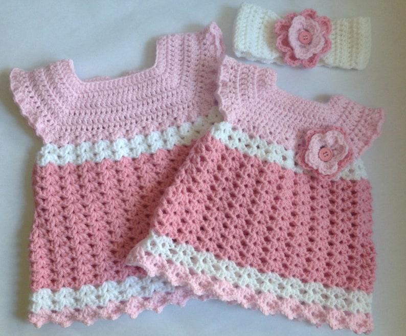 ee1874981234 Crochet baby girl dress with Headband PDF Pattern tutorial | Etsy