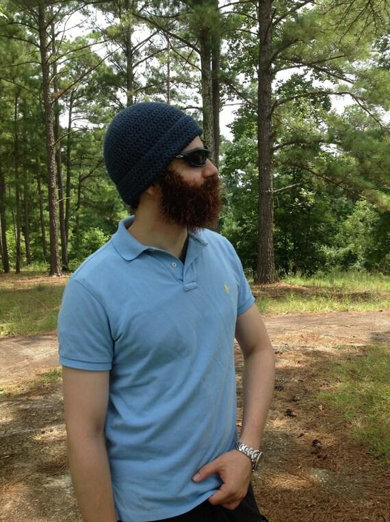 Handarbeit häkeln Bart Hut Bart Mütze dunkelblau Indigo | Etsy