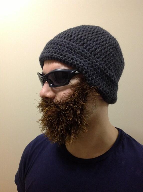 Handarbeit häkeln Bart Hut Bart Mütze dunkel grau Mütze mit | Etsy