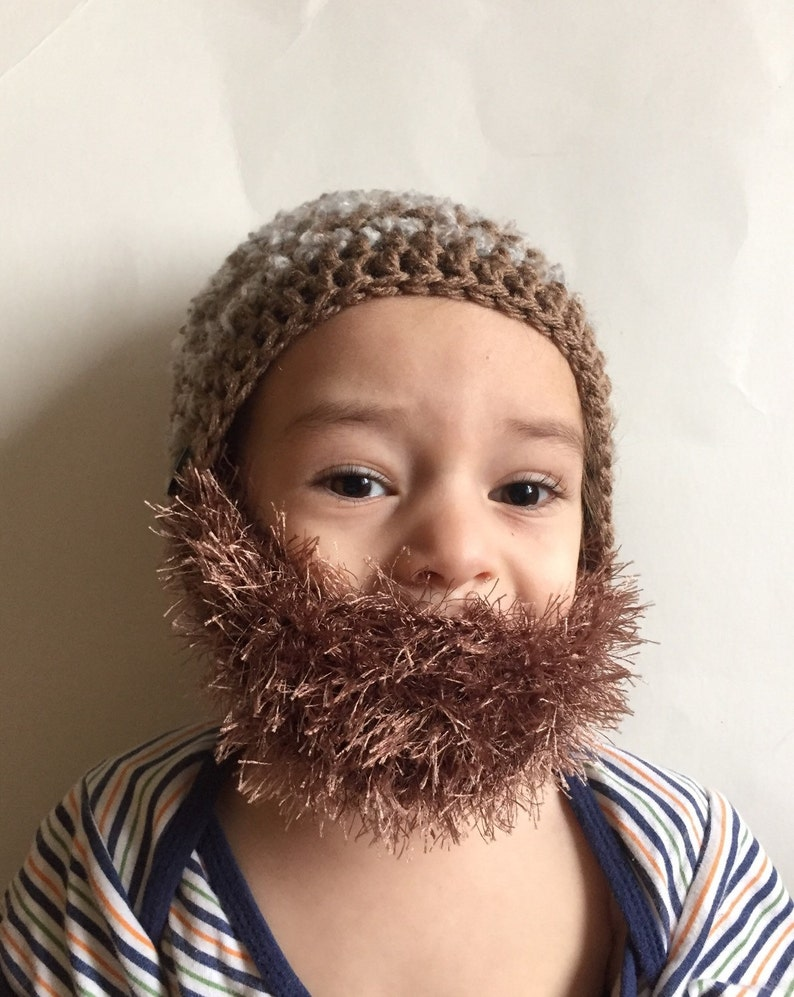 Handmade Crochet Beard hat beard beanie. Mixed white and navy  53577bd8b007