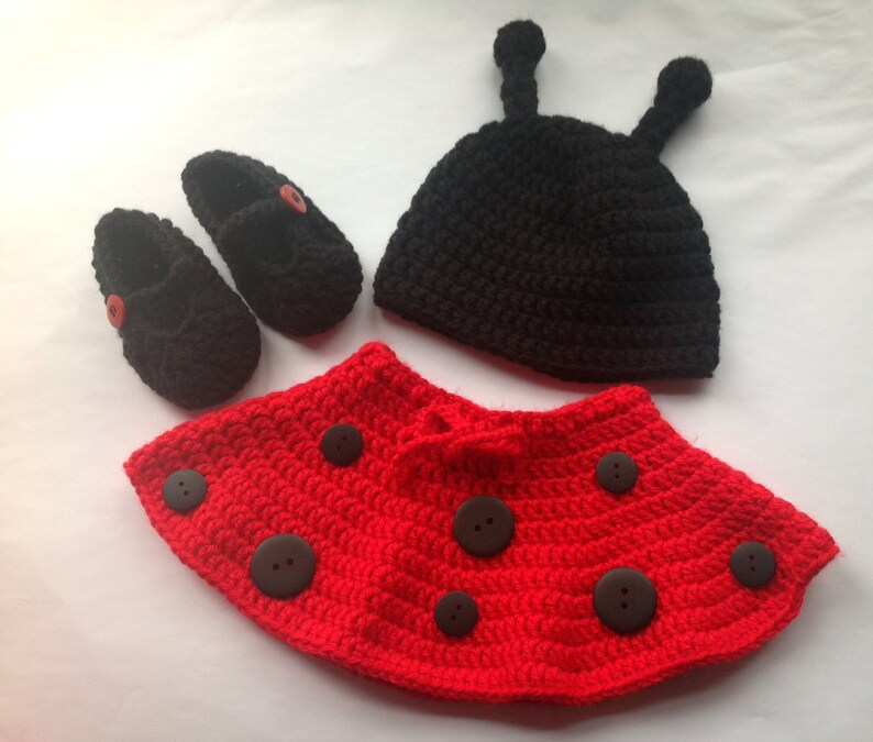 73e7fdb350e Handmade Crochet Ladybug outfit set hat skirt and booties