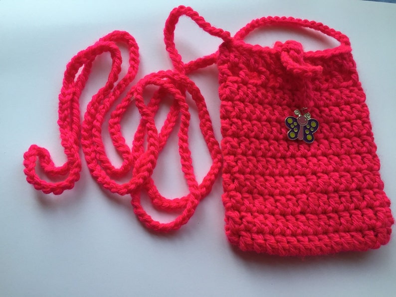 bag Crochet Hot pink Sokie Dokie Cell Phone Pouch cellphone purse cellphone bag small bag purse iPhone pouch and samsung/'s phon pouch