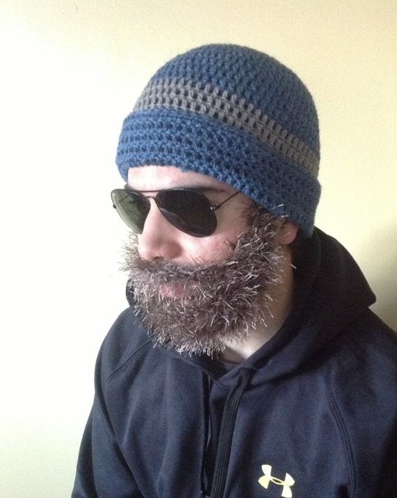 Handarbeit häkeln Bart Hut Bart Mütze mittlere blaue Mütze   Etsy
