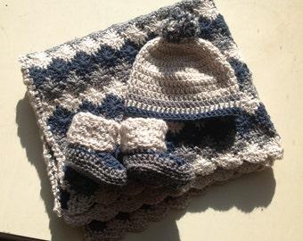 Handmade Crochet baby Boy stroller Blanket PATTERN in PDF file.