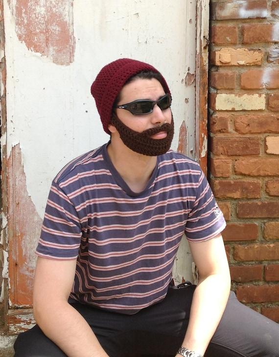 Handarbeit häkeln Bart Hut in dunkelrot-Mütze mit abnehmbaren | Etsy