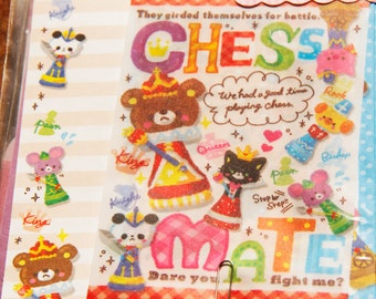 Fast Shipping Brand New Kawaii Cute Chess Mate Letter Set of 12 Sheets & 6 Envelope Memo sheets