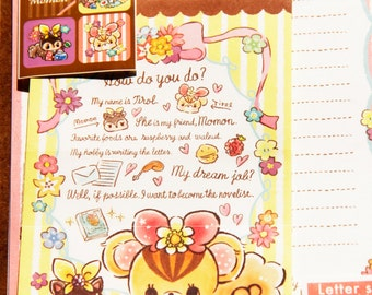 Fast Shipping Brand New Kawaii Cute siquirrel Letter Set of 12 Sheets & 6 Envelope Memo sheets