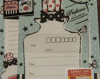 Fast Shipping Brand New Kawaii French Perfume Letter Set of 12 Sheets & 6 Envelope Memo sheets
