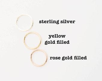 Tiny Hoop Cartilage Earrings  - Hoop Earrings - Endless Hex Helix Hoops - Rose Gold Hoops - Cartilage Jewelry - Endless Hoop Earrings