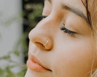 Ultra Thin 24g Rose Gold Fill Nose Ring Hoop, 7mm 8mm Adjustable 24 Gauge Hoop, Delicate Snug Fit Piercing, Small Cartilage Hoop Earring