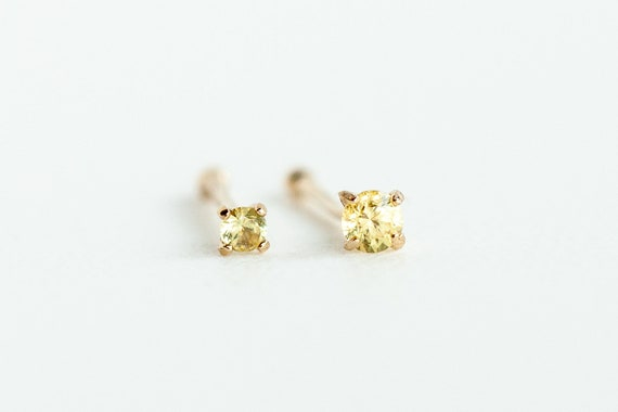 25570a886 Yellow Sapphire Nose Stud Unique Nose Ring Stud 14k Solid | Etsy