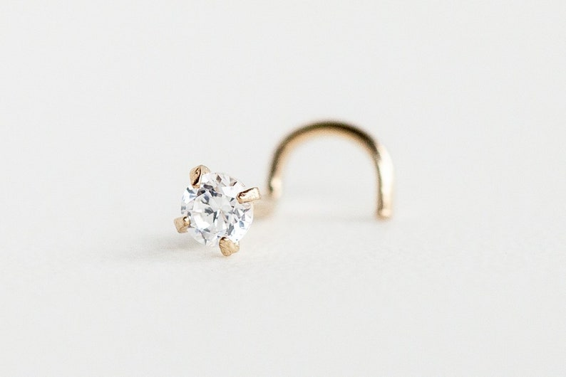 Jewelry Nose Piercing 10k Solid White Gold Small 3mm Cz Nose Stud