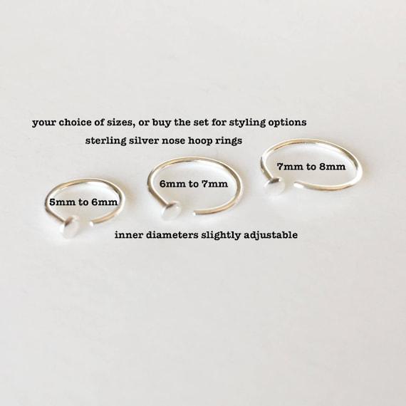 Adjustable Nose Ring Hoop 5mm 6mm 6mm 7mm 7mm 8mm 20 Gauge Etsy