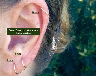 Helix Piercing Cartilage Hoop Earring - Thin Small Hoop Earring - Rose Gold 6mm 8mm Ear Hug Hoop - Small Cartilage Earring