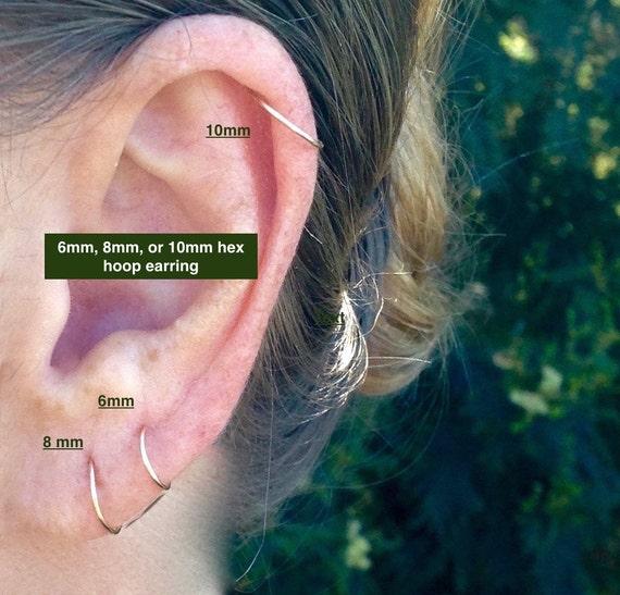Cartilage Hoops Endless Hex Helix Hoops Gold Cartilage Hoop Earrings Tiny Gold Earrings Small Silver 6mm 8mm 10mm Hoops