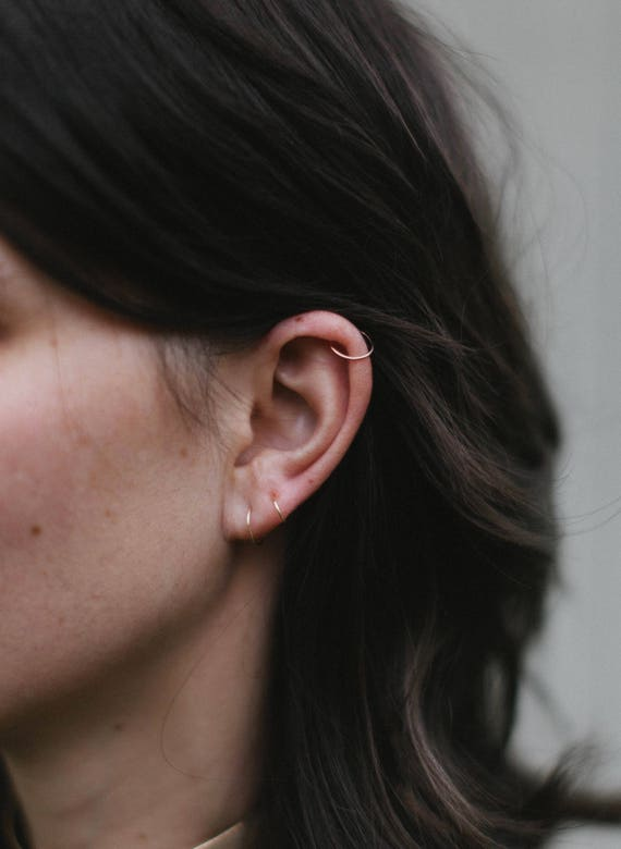 Tragus Silver 14mm 20g  Endless Hoop Nose Ring // Cartilage Helix Earring