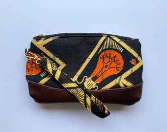 African Wax Print Leather Clutch Bag 2019/27