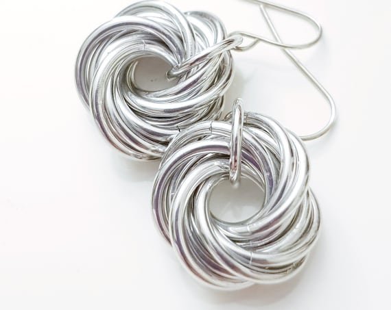 Love Knot Earrings | Silver Colour | Anodised Aluminum