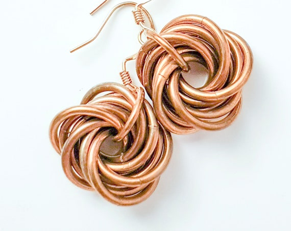 Love Knot Earrings | Bronze Colour | Patina Jewelry Brass