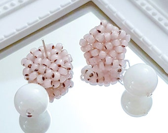 Ella | Beaded Pink Studs with White Moonstone Gem Earrings