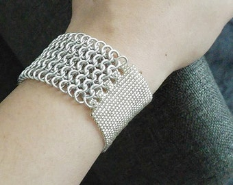 Silver Chainmaille Cuff, Silver Beaded Cuff, Beaded Chainmaille Cuff, Statement OOAK Cuff, Handmade by JeannieRichard