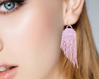Medusa Jellyfish Tassel Earrings | Pink