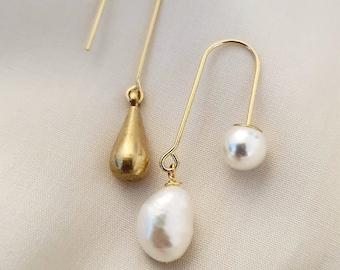 Rosée Mini   Brass Teardrop+Pearl
