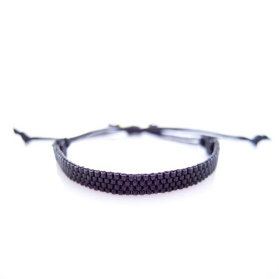 Black Skinny Bracelet, Black Bracelet, Skinny Cord Bracelet, Beaded Black Bracelet, Bracelet for Him and Her, Couple Bracelet, BFF Bracelet