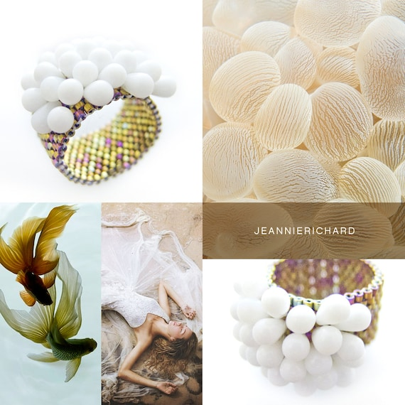 White Ring, Cluster White Ring, White and Gold Ring, Beaded Ring, White Cluster Ring, Statement Ring, Trendy