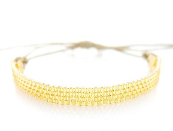 Skinny Gold Bracelet, Beaded Bracelet, Stacking Bracelet, Gold Cord Bracelet, BFF Bracelet, Minimalist, Urban, Modern, OOAK