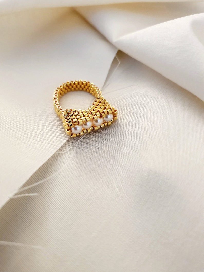 Pearl Ring Beaded Pearl Ring High Wall Ring Gold Beaded Ring Statement Ring Gold Pearl Ring